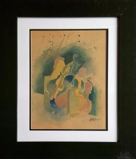 Fernandez Arman gouache on paper signed painting