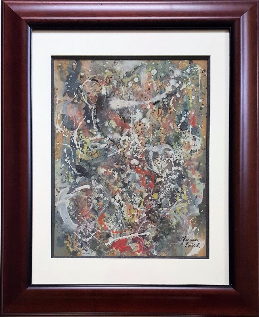 Jackson POLLOCK mixed media on paper signed painting