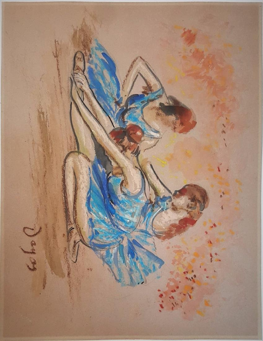 Edgar Degas mixed media on paper signed painting - 2