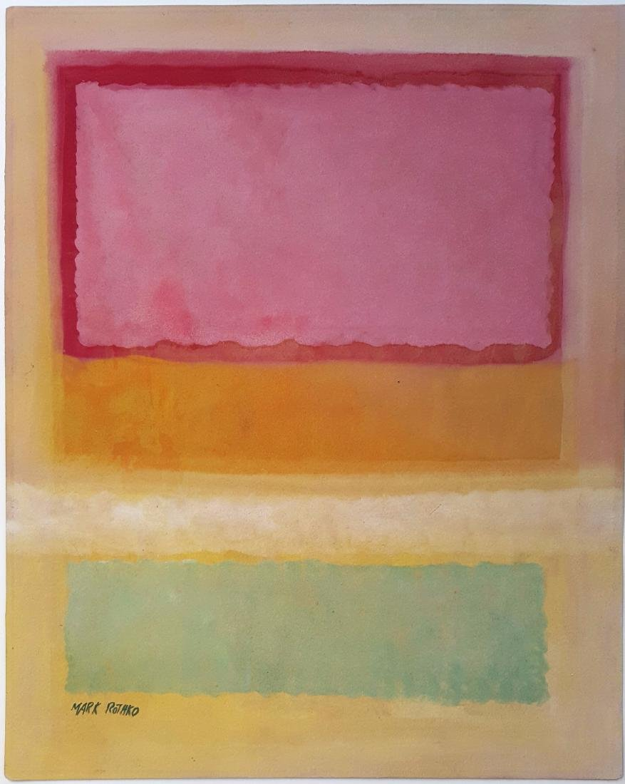 Mark Rothko mixed media on paper signed painting