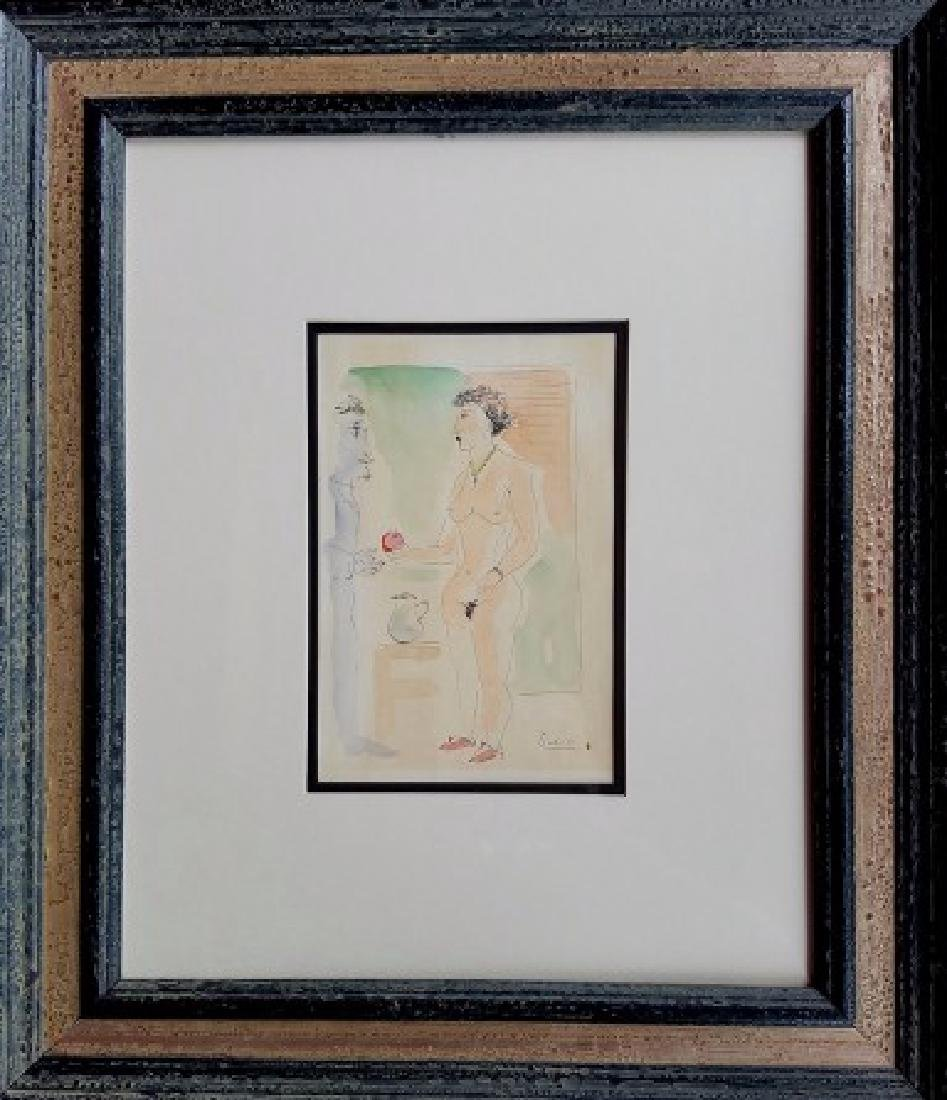 Pablo Picasso watercolor on paper signed painting