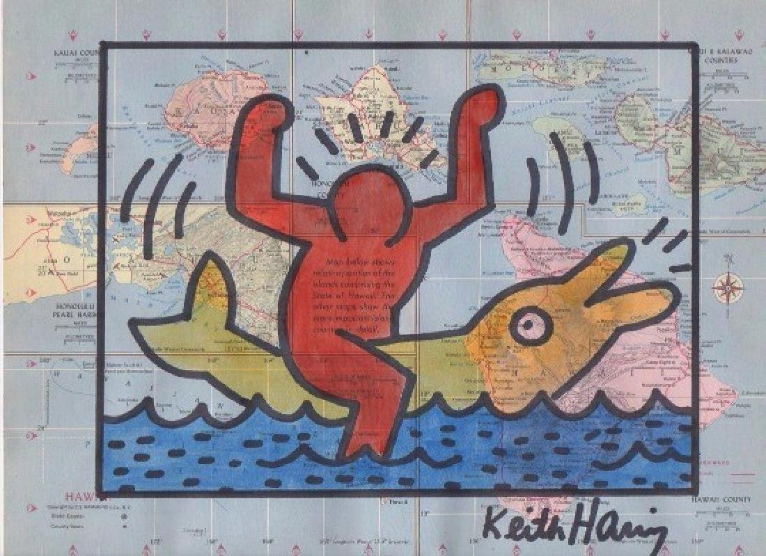 Keith Haring gouache on USA map paper