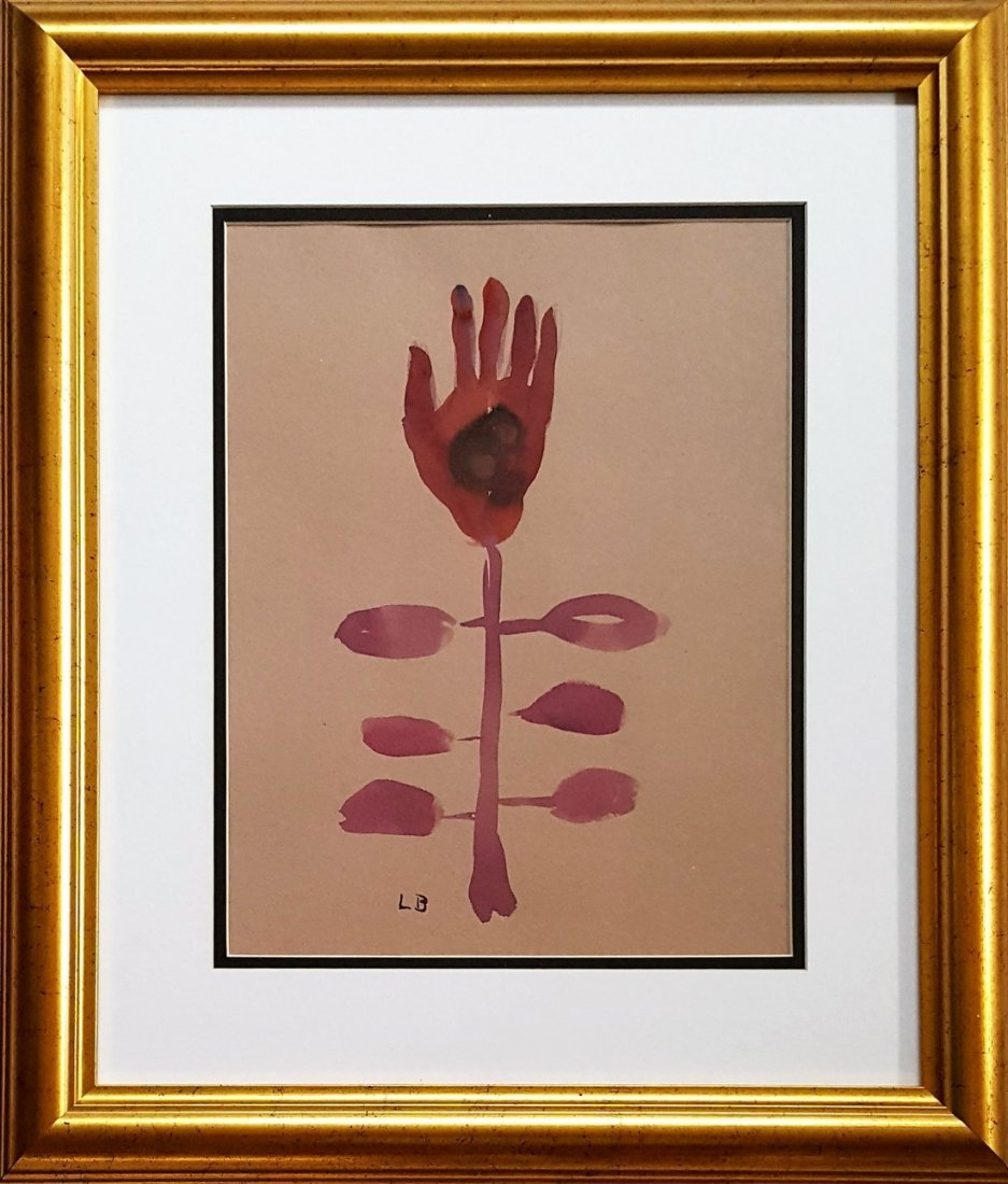 Signed Louise Bourgeois gouache on paper