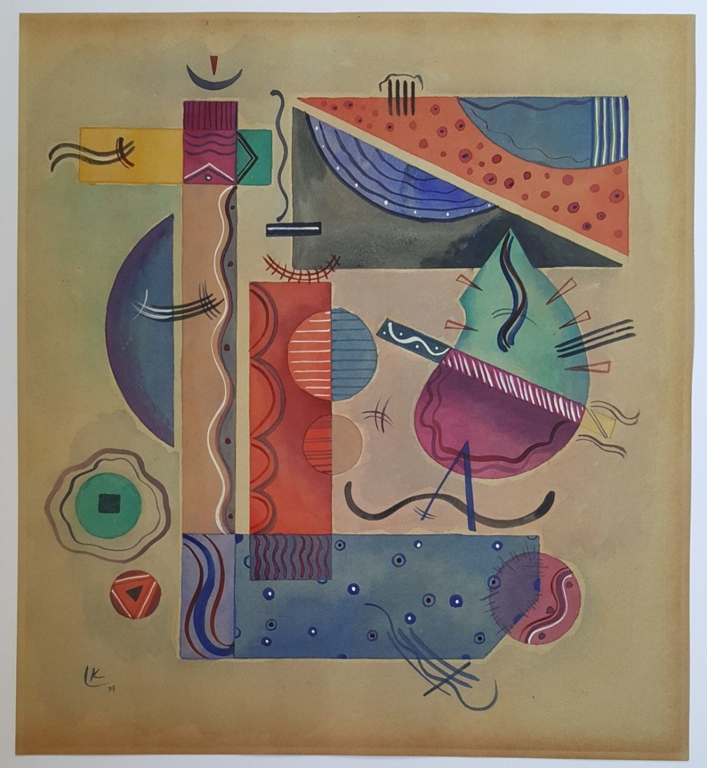 Signed Wassily Kandinsky  watercolor on paper signed