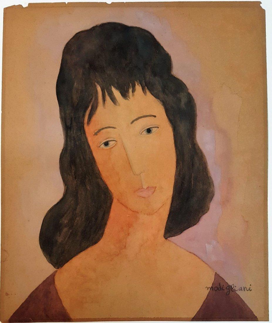 Signed Amedeo Modigliani gouache on paper