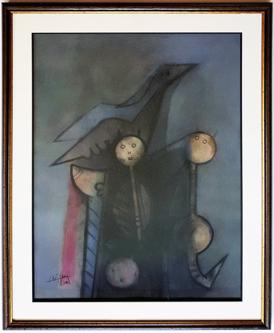 Signed Wifredo Lam mixed media on paper