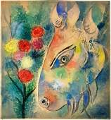 Signed Marc Chagall watercolor on paper