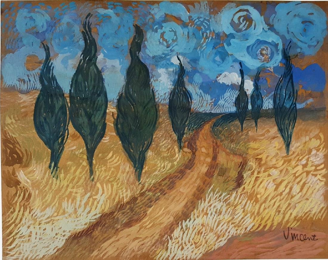 Vincent Van Gogh mixed media on paper signed painting