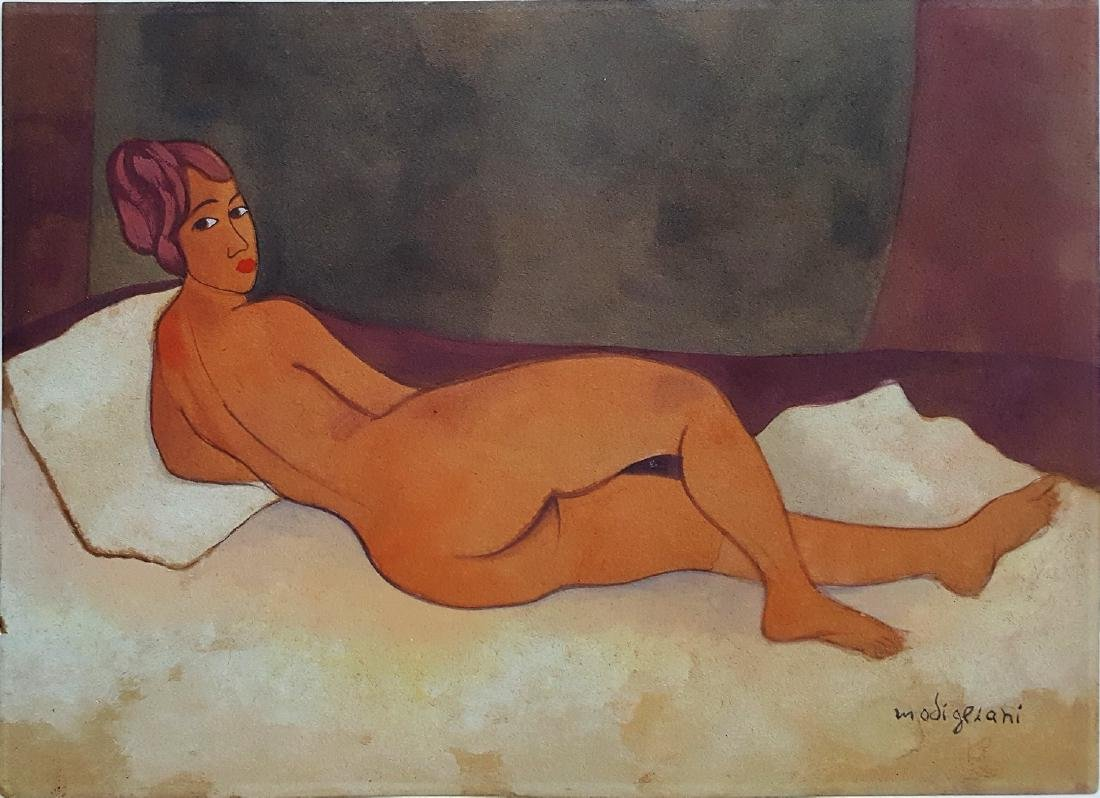 Amedeo Modigliani gouache on paper signed painting