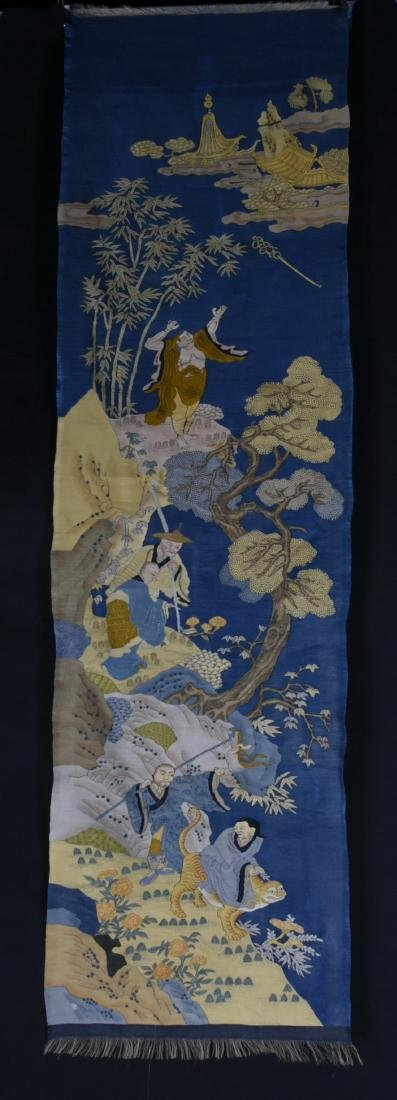 A BLUE-GROUND EMBROIDERED TEXTILE