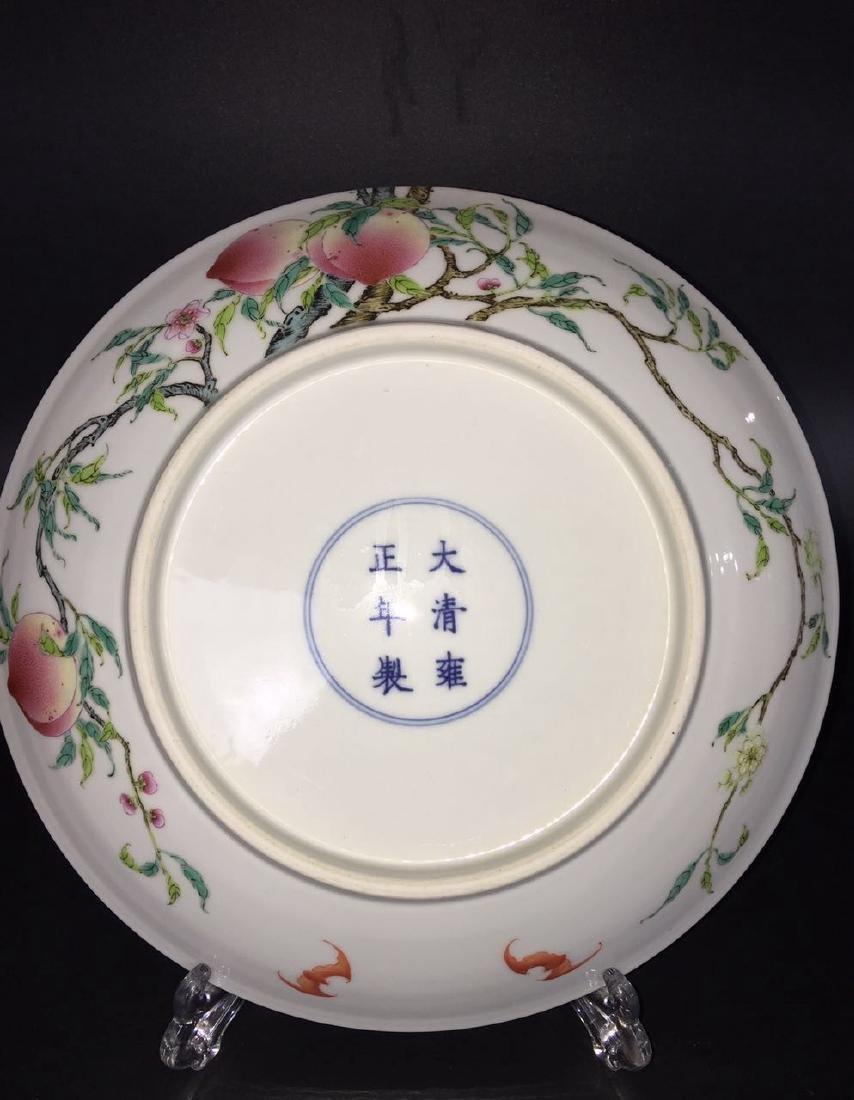 A FAMILLE ROSE 'PEACH' PLATE, YONGZHENG MARK - 4