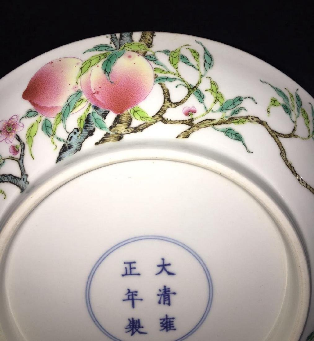 A FAMILLE ROSE 'PEACH' PLATE, YONGZHENG MARK - 5