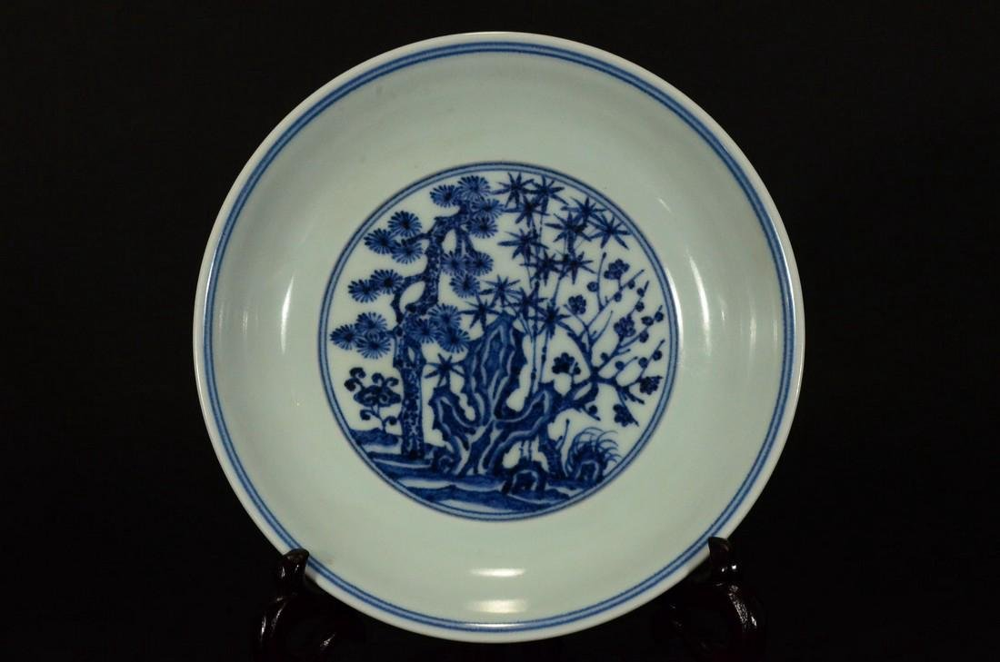 A BLUE AND WHITE PLATE, XUEDE SIX CHARACTER MARK - 2