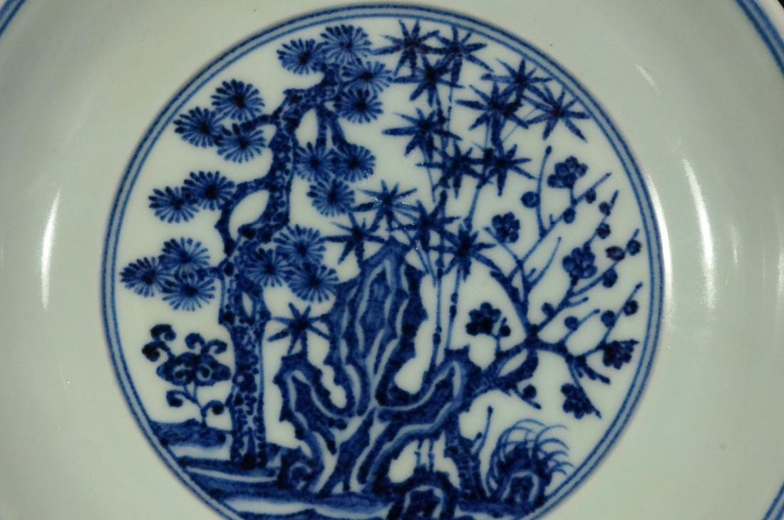 A BLUE AND WHITE PLATE, XUEDE SIX CHARACTER MARK - 3