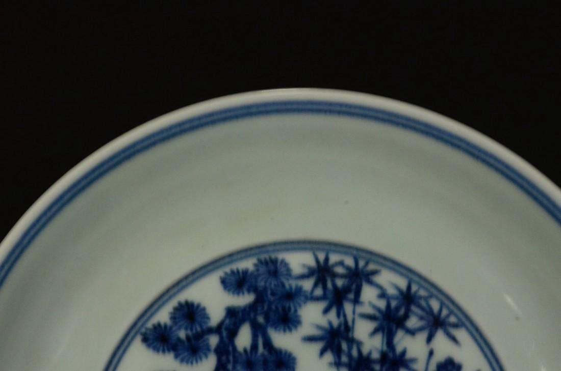 A BLUE AND WHITE PLATE, XUEDE SIX CHARACTER MARK - 4