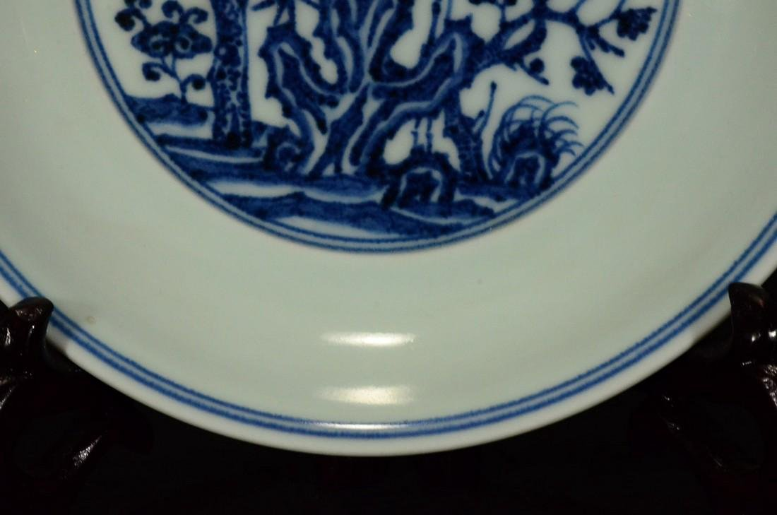 A BLUE AND WHITE PLATE, XUEDE SIX CHARACTER MARK - 6
