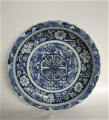 A LARGE YUAN STYLE BLUE AND WHITE PETAL-FORM PLATE