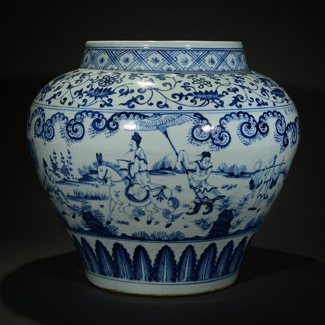 TIANSHUN MARK, A BLUE AND WHITE FLORAL JAR