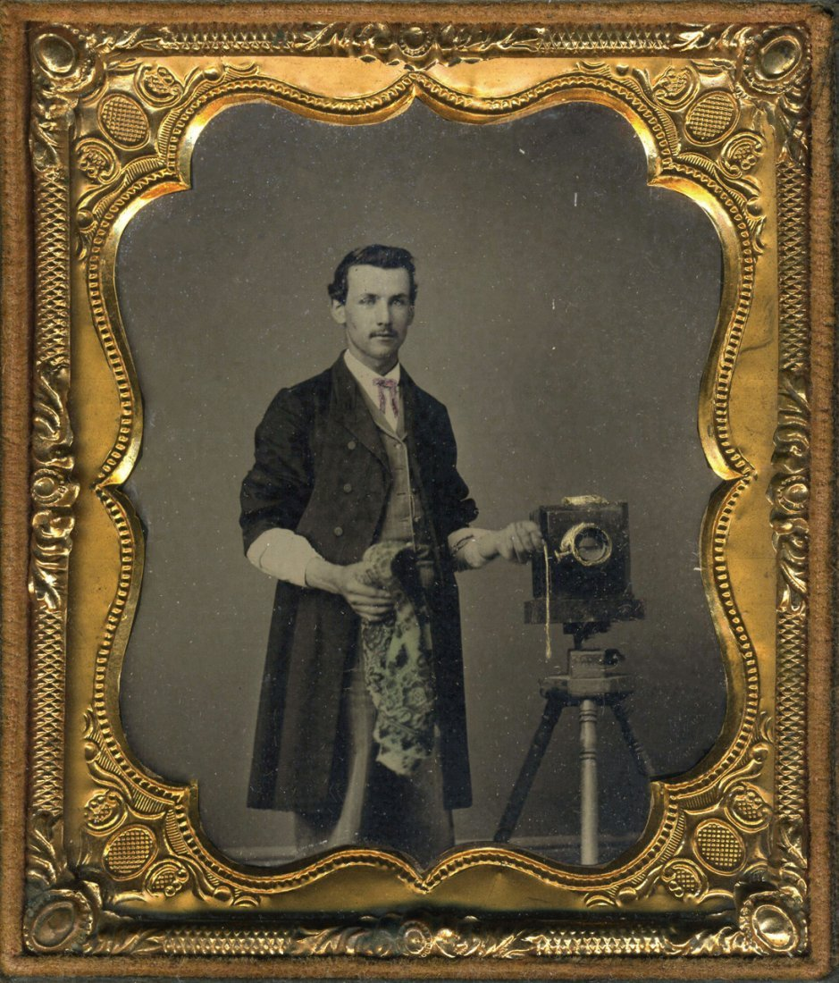 PHOTOGRAPHERS WITH THEIR CAMERAS: A PAIR OF TINTYPES