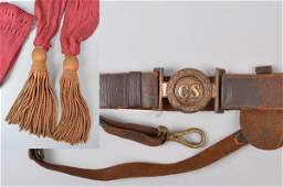 Two-Piece Sword Belt Plate and Officer's Maroon Sash