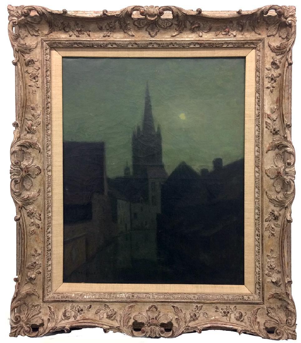 H.B. Calvet (1868-1950) - Nocturnal Scene (Church in