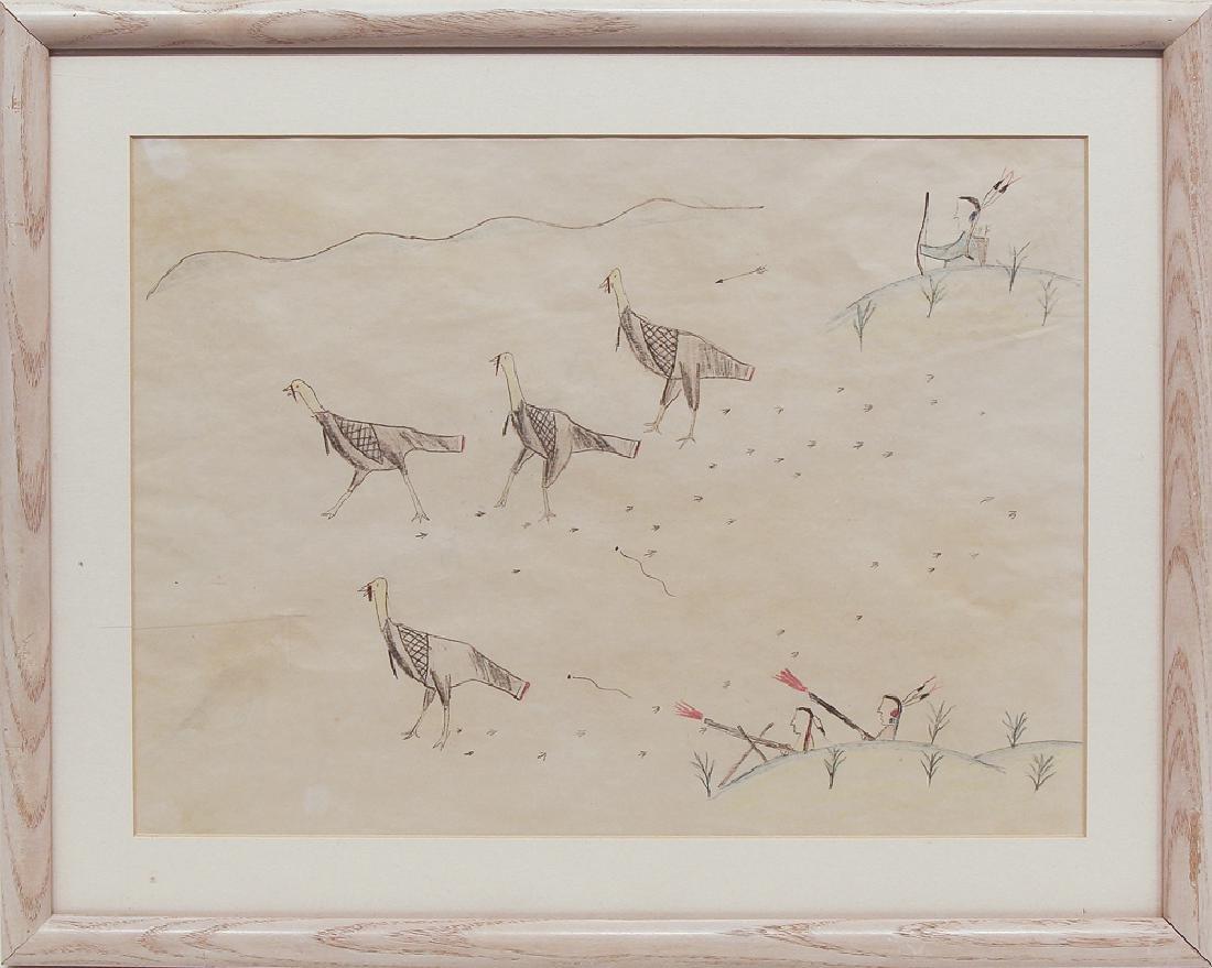 Unknown Artist - Four Turkeys/ Horse with Snake