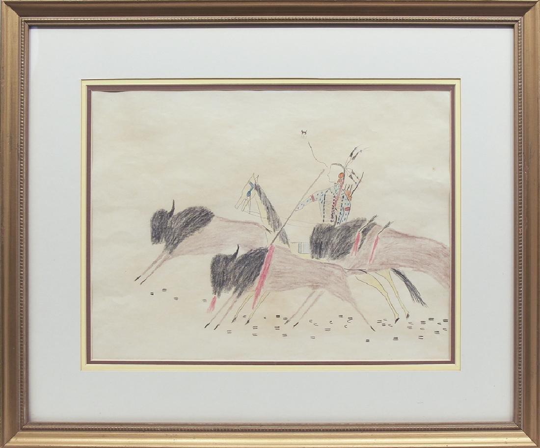 Unknown Artist - Warrior with Three Buffalo