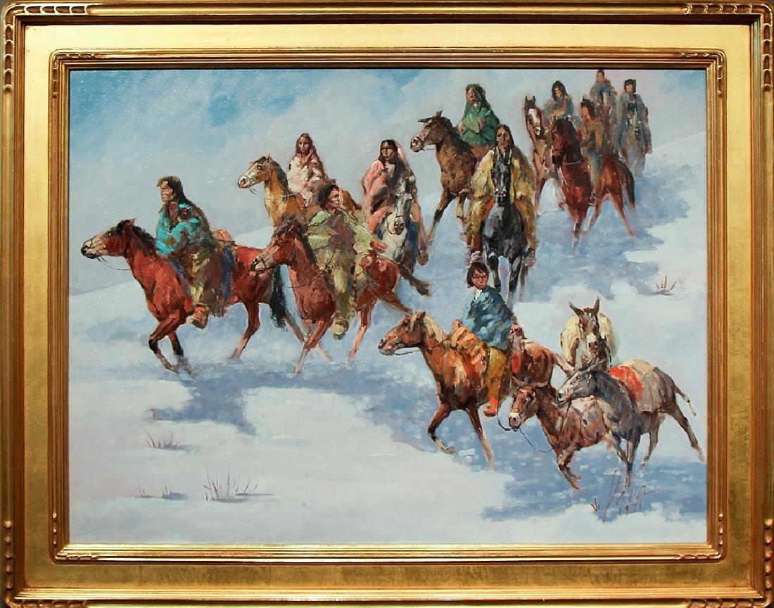 Vladan Stiha (1908-1992) - Navajo Riders in the Snow