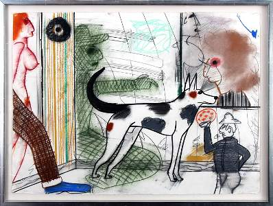 Roy De Forest, Untitled (Spotted Dog in Street)