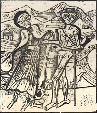 Gerhard Marcks, Untitled (Couple with Small Dog)