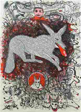 Roy De Forest, Untitled (Wolf Dogs)