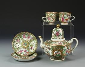 Chinese Rose Medallion Teapot and Teacups