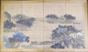 Chinese 19th Century Folding Screen Painting