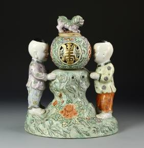 Chinese Famille Rose Boys Vase
