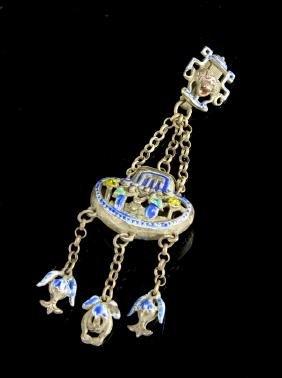 Chinese Enameled Silver Pendant