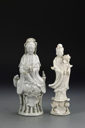 Two Chinese Guanyin Statues