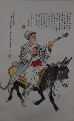 Huang Zhou Donkey Rider Scroll Painting