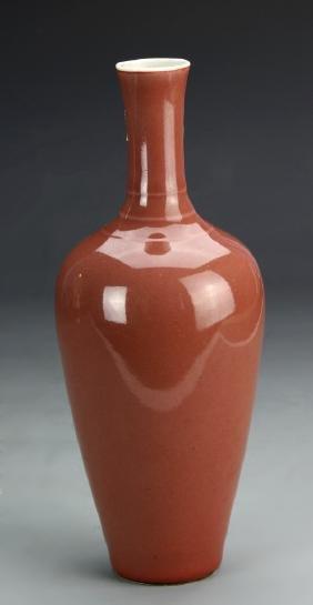 Chinese Peach Bloom Glazed Vase