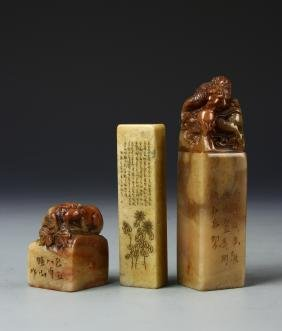 Three Chinese Stone Seal Chops