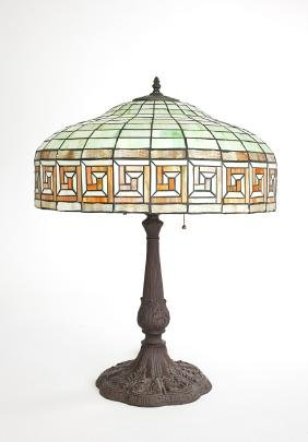 Tiffany Studio Style Lamp Shade With Bronze Base