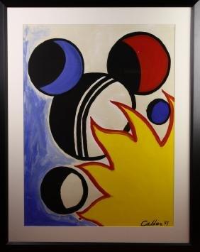 Framed Calder Gouche Abstract Art on Paper