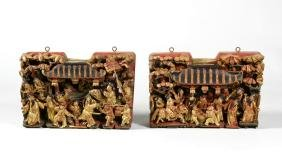 Two Chinese Carved Wood Ornament