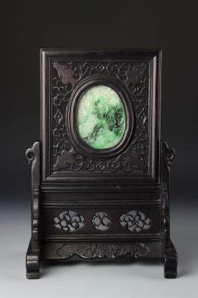 Chinese Jadeite Wood Table Screen