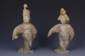 Two Chinese Tang Dynasty Musician Figures