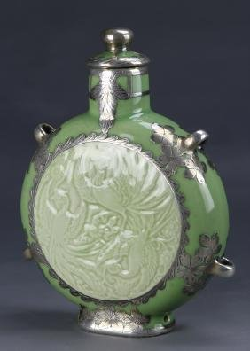 Chinese Moon Flask Vase with Silver Inlay