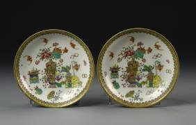 Pair of Chinese Famille Rose Plates