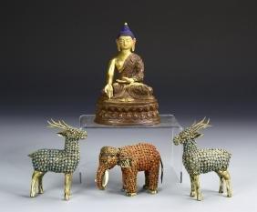 Chinese Gilt Buddha and Three Cloisonne Bowls
