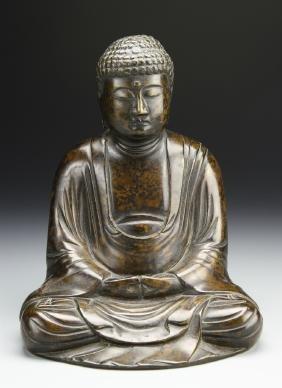 Japanese Bronze Seated Buddha