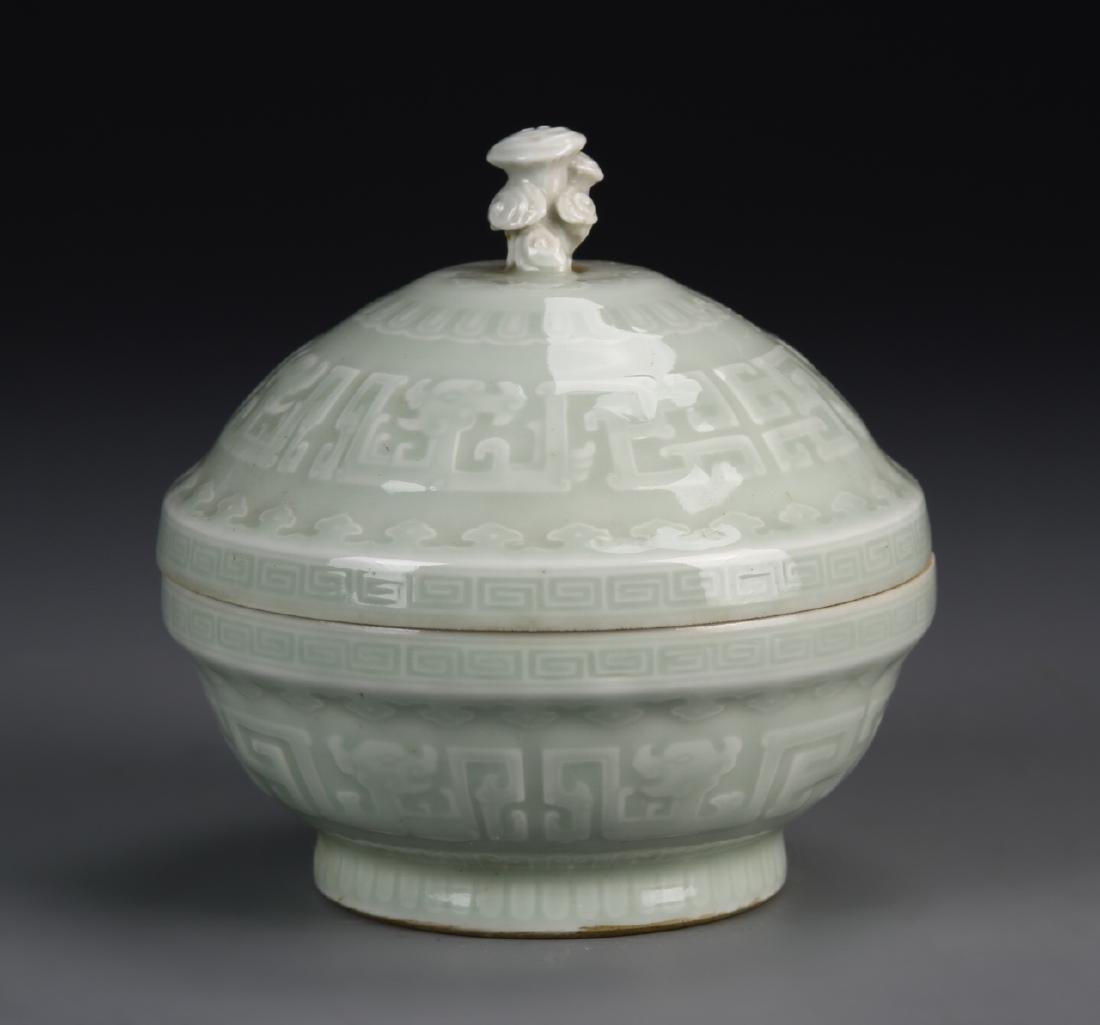 Chinese Celadon Glaze Bowl With Cover