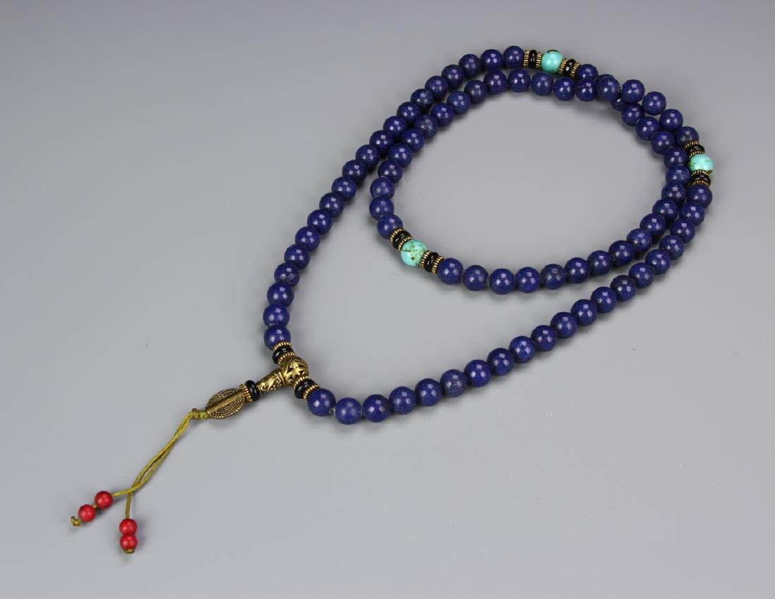 Chinese Lapis Beaded Necklace
